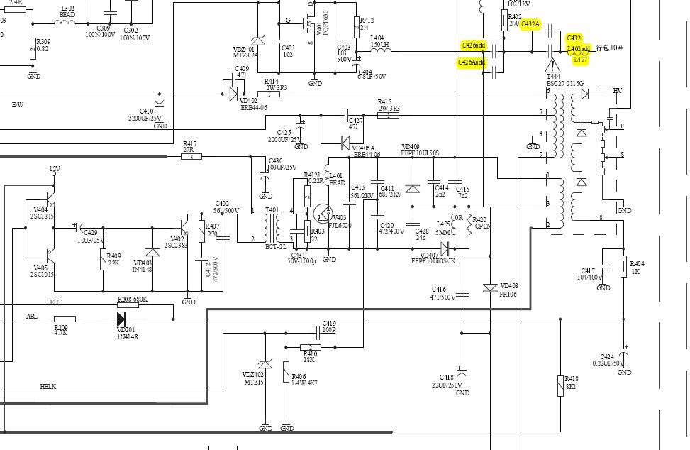 建筑施工电路囹�)�c_hdp2976海信彩电行管旁c411和c420和c431 r410各是多少