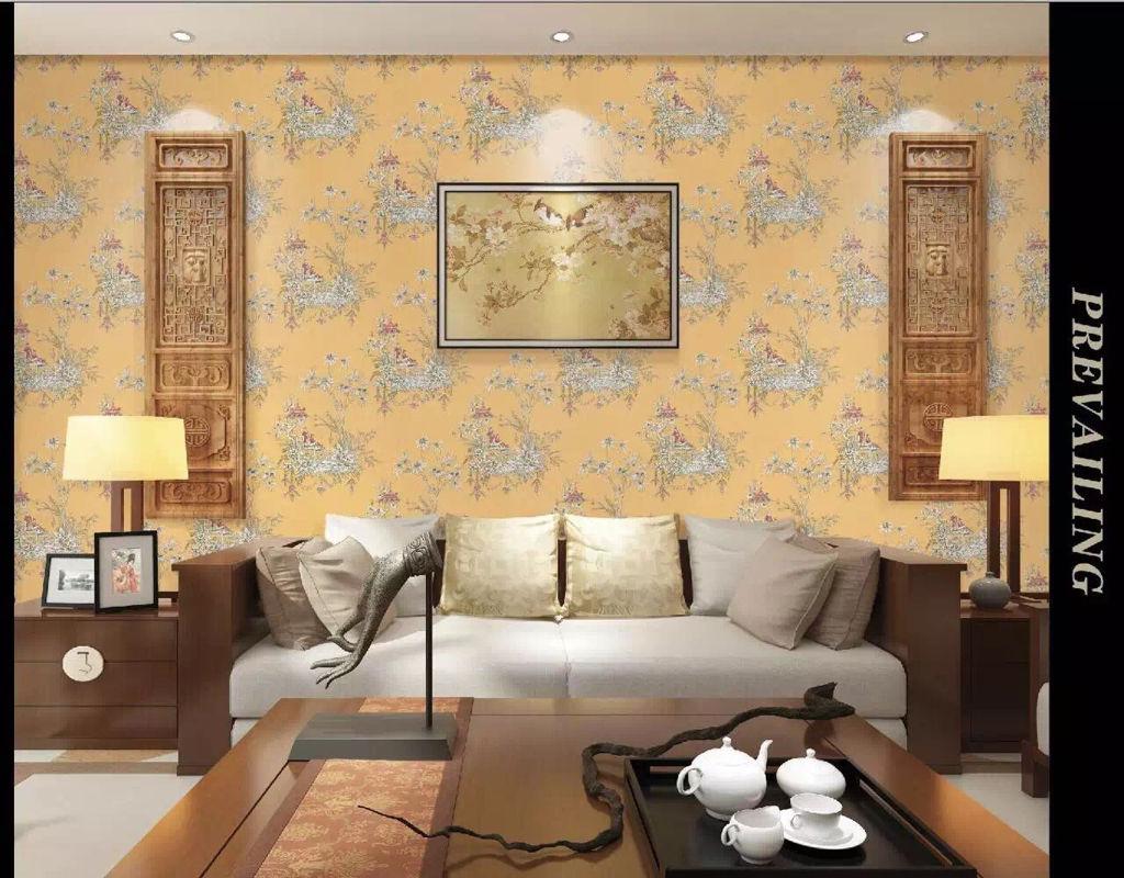 这种中式风格的无缝墙布哪家有?图片