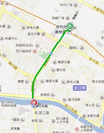 春熙路到新南门汽车站