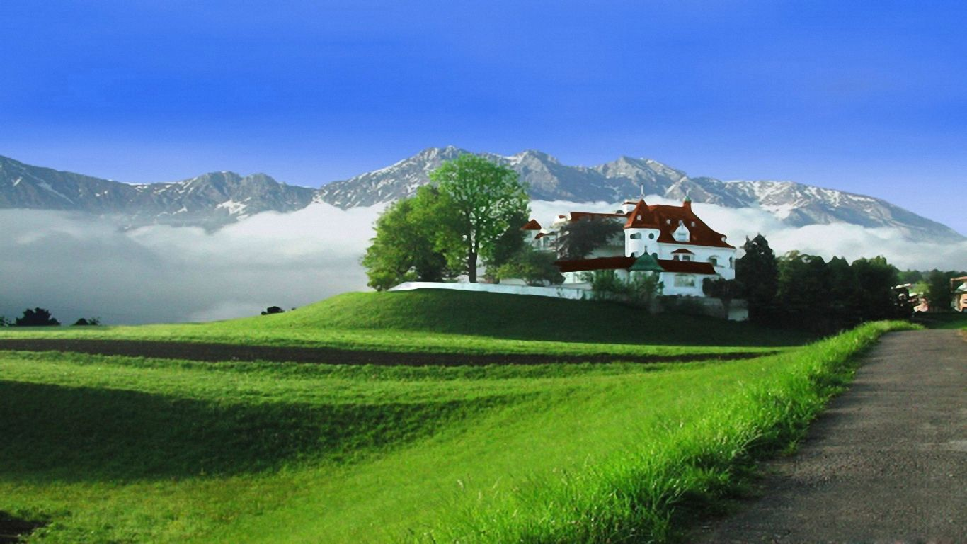 高清绿草蓝天白云桌面 蓝天白云绿草地素材 桌面壁纸高清蓝天白云 青图片