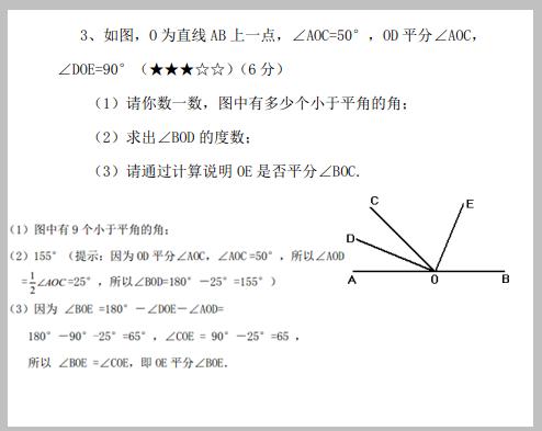 七年级数学几何图形拔高题, 有题 有过程 有答案图片