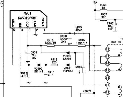 康佳p29sk376电视电源模块型号:ka5q1265rf. http://www.baidu.