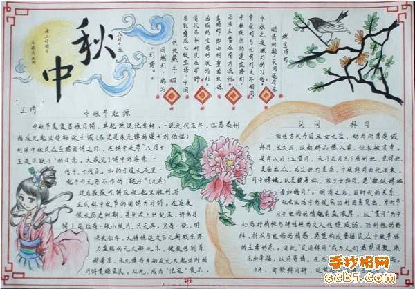 中秋的手抄报 中秋节的习俗 手抄报版面设计图