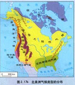 北美洲气候类型分布