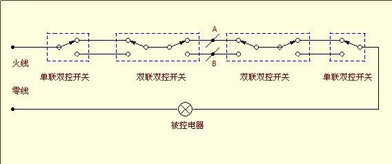 双开双控开关六根线接线图,一根火线,两根灯线,另三根图片