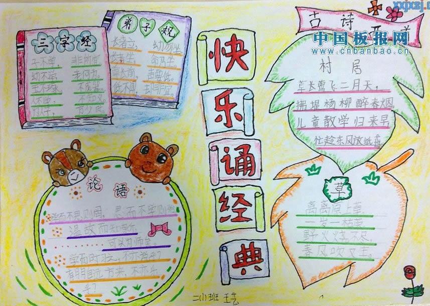 中华文明经典诵读的手抄报的内容有哪些?