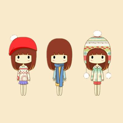 三个可爱卡通的女孩的图片