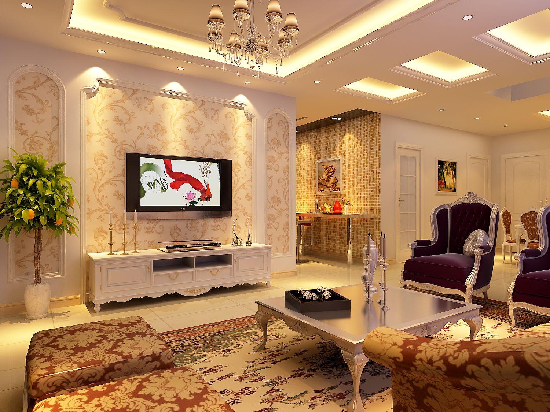 简欧风格,沙发后面如何装饰比较大气?图片