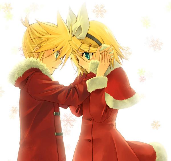 动漫情侣头像一男一女黄头发红衣服图片