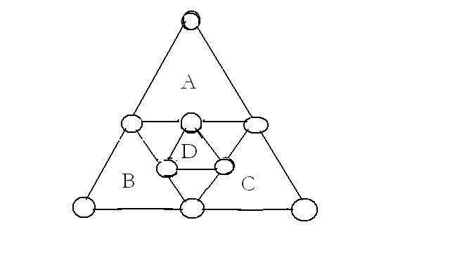 数字金字塔 将1---9九个数字题入图中使abcd三个三角形的数字之和都是图片