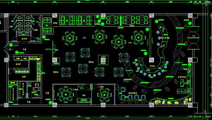 咖啡厅的平面设计图(大厅,厨房,储藏室,休息室,一起,洗手间)图片