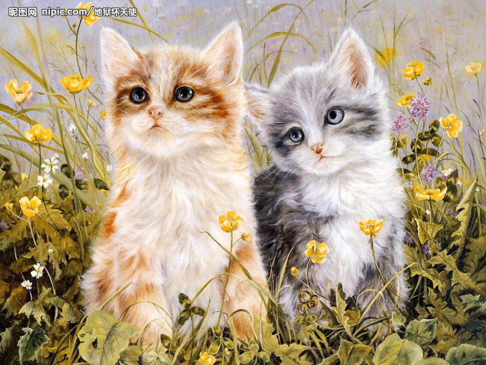 mc绣线十字绣猫咪动物客厅餐厅混绣两只可爱猫咪新款卧室ks 高清图片