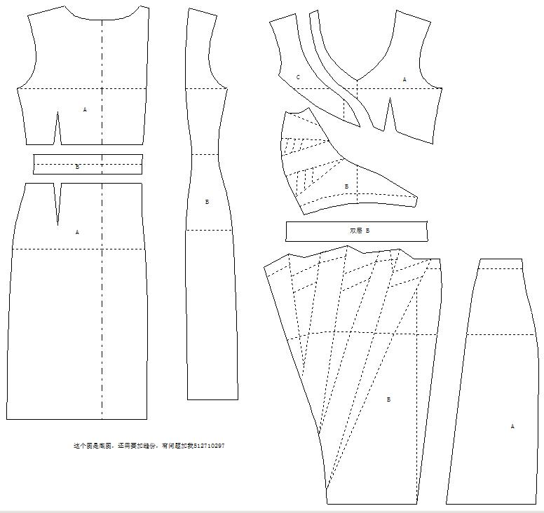 求此款衣服(拼接连衣裙)的服装纸样以及制作技术资料详尽流程 感激不图片