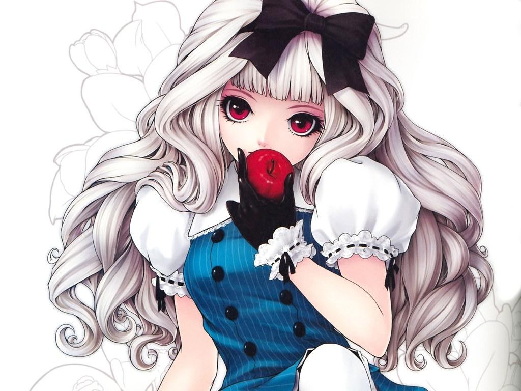 求银发红瞳的动漫少女图片