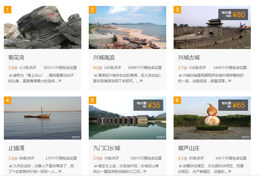 葫芦岛好玩的景点