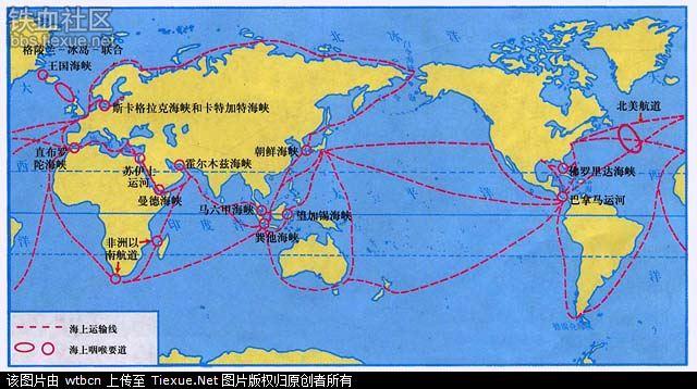 画一副世界地图,主要含十大海峡,并标注海峡分开的海洋.图片