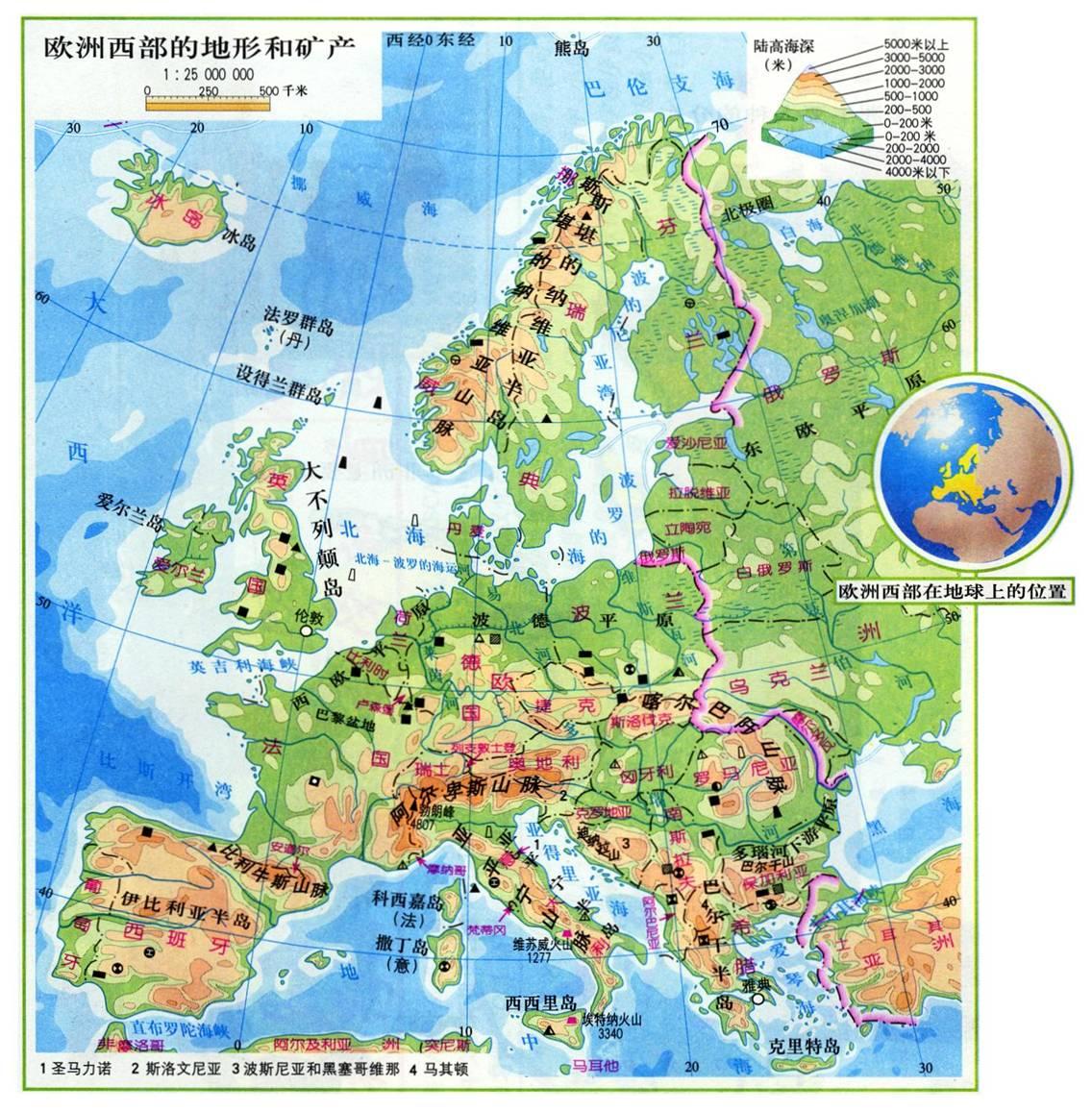 欧洲海拔地图图片