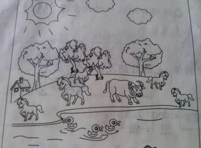 小学一年级简笔画校园_小学一年级看图写话
