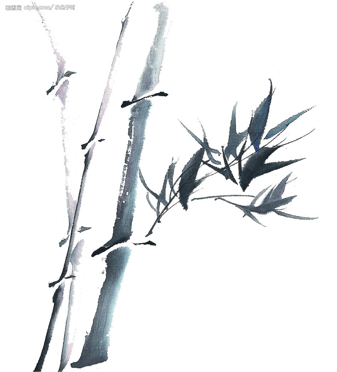 客厅装饰画之竹子水墨画   铅笔素描竹子的 画法 ; 白描 竹子 画谱/国画图片