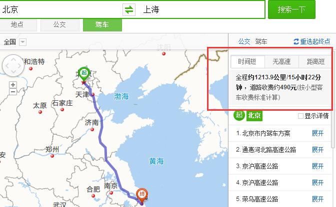 北京到上海自驾费用