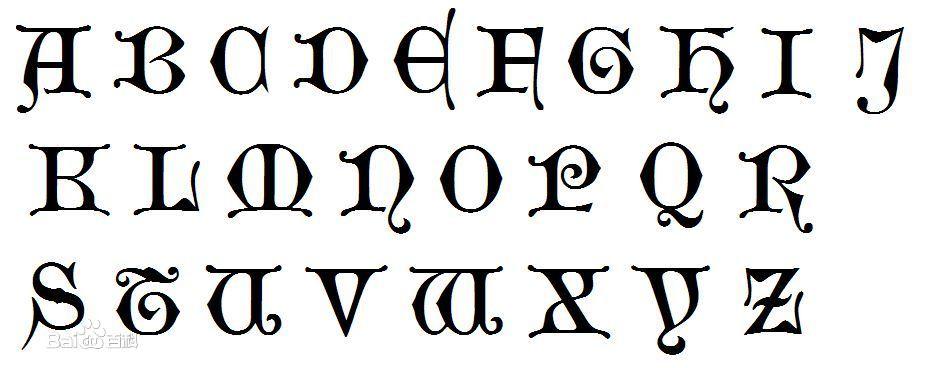 求26英文字母的哥特式字符或字体,不要图片图片