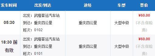 武隆到重庆多少时间