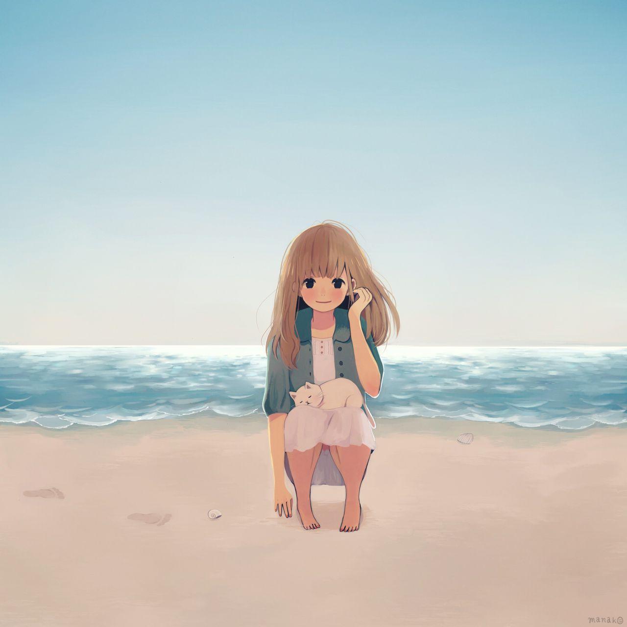 求画海边的动漫图 插画