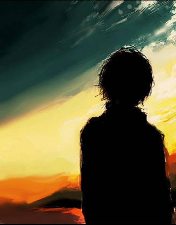 找动漫图,夕阳阳光照射在男的正面,背影图图片