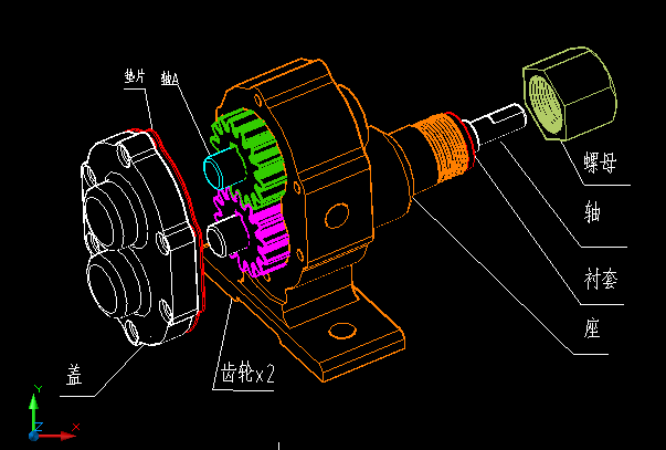 cad齿轮油泵装配图dwg格式的图片