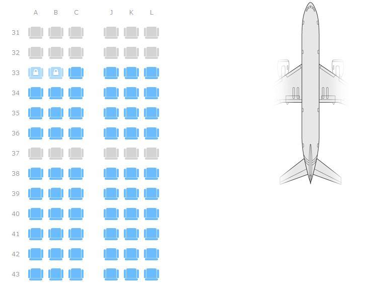 帮忙在飞机上选座位,空客a319,东航的机票,31到49,我选择哪个座位比较图片