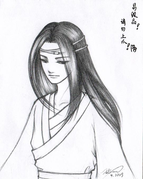 手绘铅笔古代美女图片