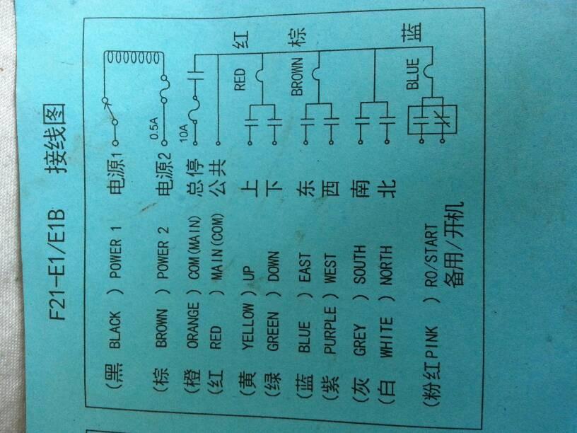 天车遥控器 F21 E1 RX怎么接线,有接线图,但是不懂电工看不明白图片