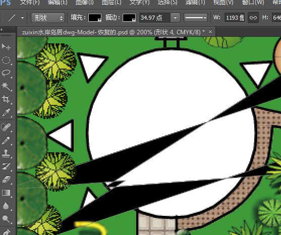 ps直线工具画出来的东西,不是大箭头就是直线,我把起点终点都勾掉了图片