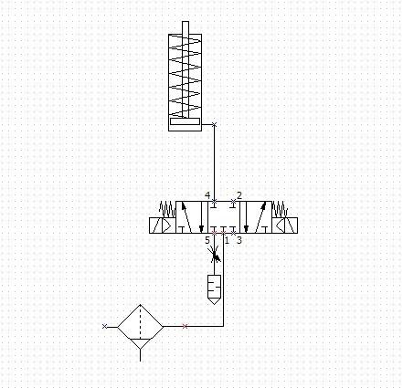 单作用气缸的换向及速度调节回路采用三位五通双电磁换向阀是否能实现图片