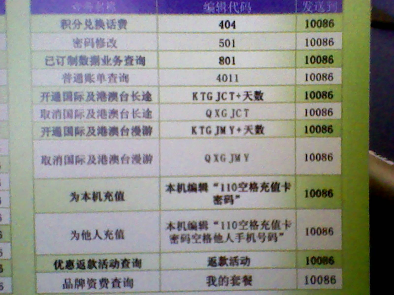移动卡钻代码_中国移动使用手机短信办理各种业务的短信 代码