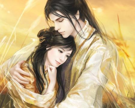 一男一女相拥【有爱就好】的古风图.环境美带意境图片