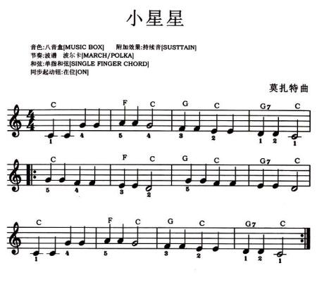 以下是《小星星》电子琴五线谱和简谱的两个版本图片