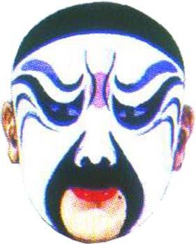 京剧脸谱--高俅 行当(角色):净(花脸);由架子花脸应工 脸谱:水白脸图片