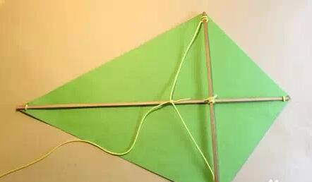 三角形的风筝怎么支起来和风筝线怎么绑图片
