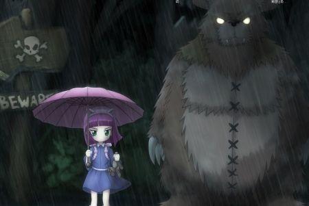 有一个动漫一个小女孩手里拿着一个小熊