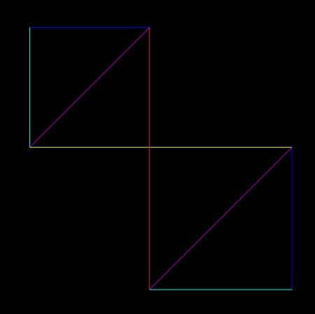 怎样用8条线画出4个三角形和2个正方形图片