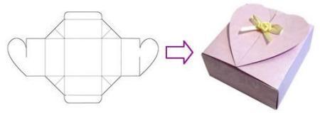 心形纸盒怎么折,简单的图片