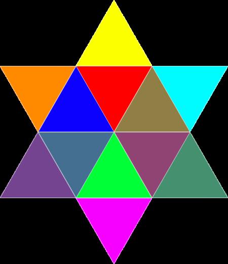12个全等三角形,12种颜色,背景透明(png格式),是这样吗?图片