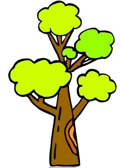 大树被风吹倒的卡通画