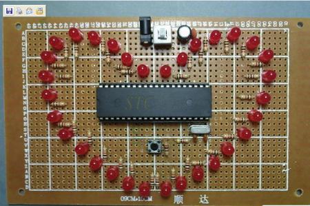 at89c51 单片机的32颗ledd灯的心形走马灯的电路图焊接图图片