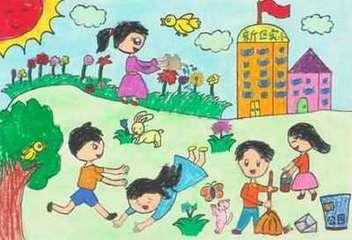 梦想未来美丽校园的儿童画图片