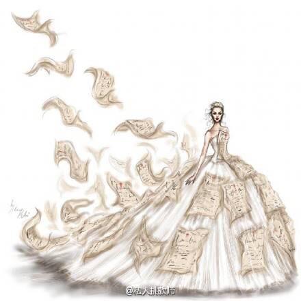 女生微信手绘头像婚纱礼服