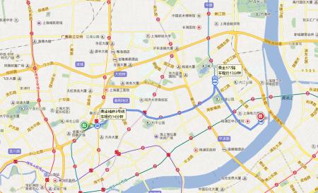 上海虹口区地图_上海市虹口区中山北一路到杨树浦路2886号坐几号地铁