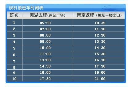 求芜湖到南京机场最晚大巴发车时间