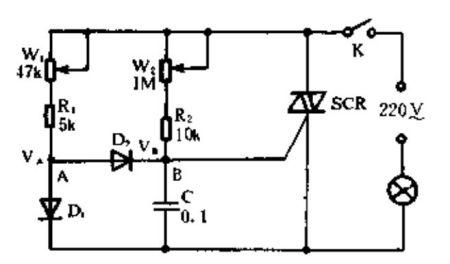 可以给你一个双向晶闸管的线路,它即可用于灯泡调光,也可以用于电风扇图片